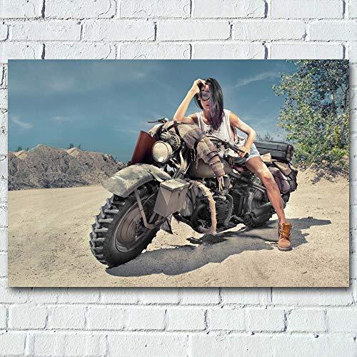YHSM Pintura en Lienzo Chica en el Desierto Bicicleta Todoterreno Motocicleta Imagen Lienzo Arte de la Pared Carteles e Impresiones para la decoración del hogar de la Vida 16X24 Pulgadas Sin M
