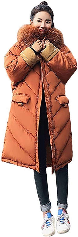 Bon Soir Women Outerwear Fur Hooded Coat Long CottonPadded Jackets Pocket Coats