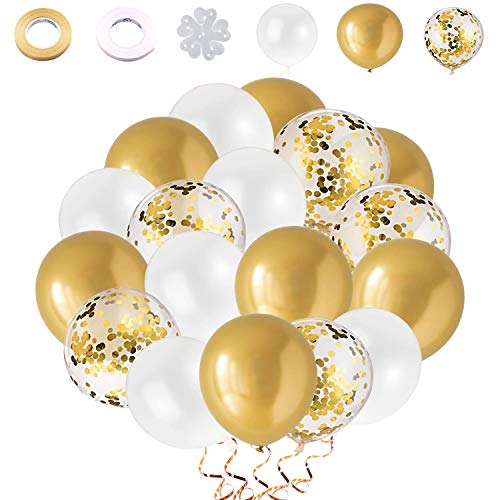 Globos de Confeti Dorado|Globos Dorados|Globos Metalizados Dorados|60 piezas 12 Pulgadas Globos Dorado Blanco, Para Decoraciones de Cumpleaños, Bodas, Fiestas, Ceremonias de Graduación.(Dorado)