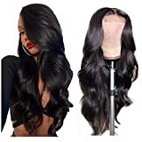 Remy Human Hair Wigs Body Wave Lace Closure Wig Human Hair 4×4 Lace Closure Wig for Black Women Unprocessed Virgin Hair Glueless Wet and Wavy Hair Pre Plucked Hailine (Body Wave Lace Wigs 16 Inch)