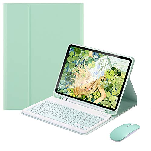 SsHhUu Keyboard Case + Mouse for iPad Air 4 10.9' 2020 with Pencil Holder, Auto Wake/Sleep Smart Cover with Magnetically Detachable Wireless Bluetooth Keyboard, Green