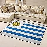 Sunzhenyu Alfombra de área de la bandera de Uruguay, alfombra para sala de estar, alfombra para dormitorio, alfombra antideslizante extra suave y cómoda, lavable para el hogar, 72 x 48 pulgadas
