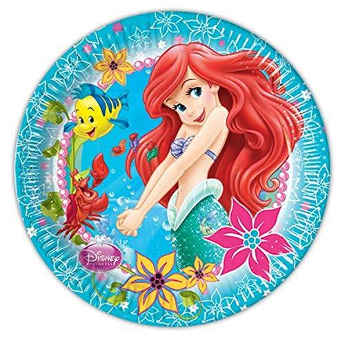 Unique Party 71521 Lot de 8 assiettes de fête Disney Princesse Ariel Petite Sirène 23 cm