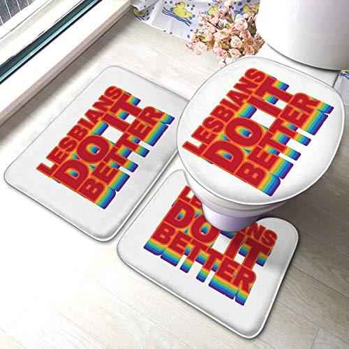 3 Piece Bathroom Anti-Skid Pads Lesbians Do It Better Quote Memory Foam Mat Set Matches Anti-Skid Absorbent Toilet Seat Cover Bath Mat Lid