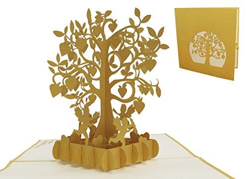 LIN-3D Pop Up Karten, Karte goldene Hochzeit, Hochzeitsjubiläum zur goldenen Hochzeit, Herzbaum mit Amor (85)