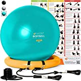 Exercise Ball Chair - 65cm & 75cm Yoga Fitness Pilates Ball & Stability Base for Home Gym & Office -...
