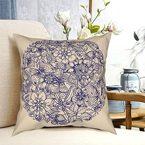 SFDGBTH Mariposas y Flores Funda de Almohada Decorativa, 18 x 18 Pulgadas, cojín de Lino Cubierta de Almohada Cuadrada, Adecuado para decoración del hogar del sofá de automóvil