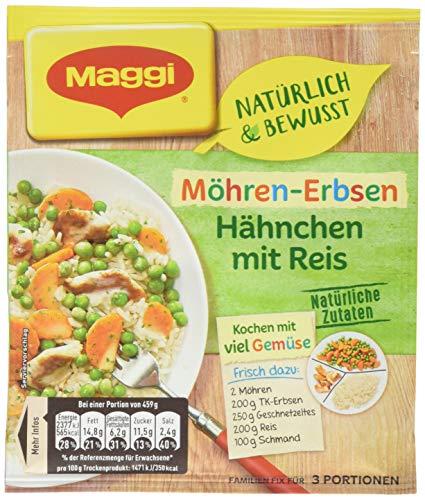 Maggi Familien fix & frisch Möhren-Erbsen Hähnchen mit Reis, 41 g Beutel, ergibt 3 Portionen 18er pack (18 x 41g)