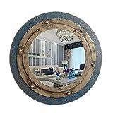 Baibao Badezimmer-Spiegel Retro Mittelmeer Runde Dekorative Spiegel Wandbehang Spiegel Korridor Spiegel 51 * 51cm