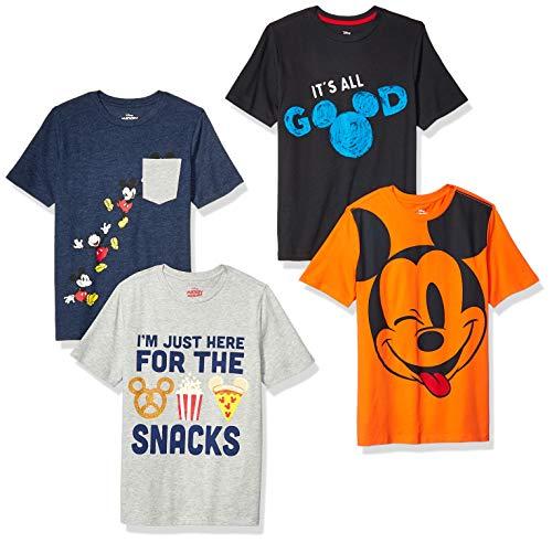 Spotted Zebra Boys#039 Kids Disney Star Wars Marvel ShortSleeve TShirts 4Pack Mickey Snacks Large