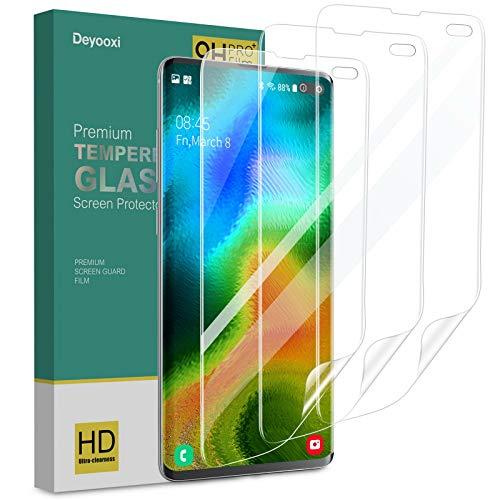 Deyooxi Pellicola Protettiva per Samsung Galaxy S10 Plus,3 Pezzi Full Screen Trasparente Morbido TPU Pellicola per Samsung Galaxy S10 Plus,Copertura Totale Protezione Schermo,Anti-Impronte.