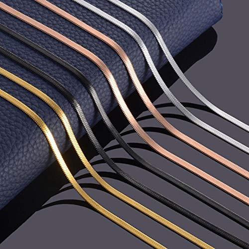 WDam Ancho Collar Plano de Acero Inoxidable Oro ImpermeableFilmy Serpiente Cadena Hombres Regalo Varias Longitudes 3 MM, Color Rosa, 55 cm de Longitud
