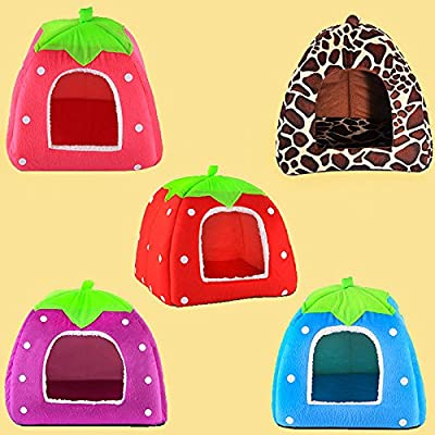 RENNICOCO Super Soft Strawberry Pet Igloo Dog Cat Bed House Kennel Doggy Fashion Cushion Basket from RENNICOCO
