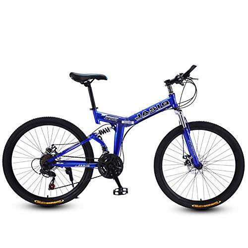 F-JWZS Unisex Dual Suspension Mountainbike, 21 speed vouwfiets, met 24/26 inch wielen en dubbele schijfrem, voor Student, Kind, Adult Commuter City