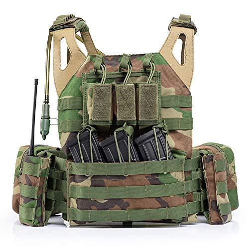 Viktion Gilet Tactique Airsoft Multi-Fonctionnel Nylon 1000D Gilet De Terrain Ajustable Fournitures Police et Les Militaires, engins Tactiques (Camouflage)
