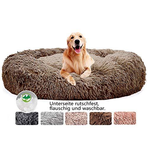 Hundebett Flauschig Große Hunde, Sofa waschbar, Kissen Bett Rund Sofa Haustierbett, Rundes Plüsch Hundekissen Katzenbett in Doughnut-Form, für große und extra große Hunde - Braun Ø 120cm