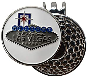 DA VINCI Magnetic Golf Hat Clip with 1 Inch Embossed Metal Golf Ball Marker (Welcome to Las Vegas) from Da Vinci Imports