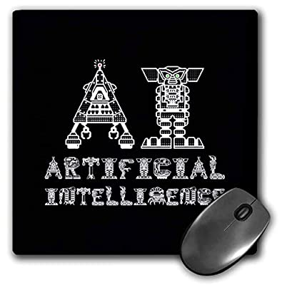 3dRose AI Artificial Intelligence Funny Text on Black. Chic Gift for You - Mouse Pads (mp_337747_1)