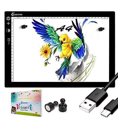 XIAOSTAR - Tablet luminoso A4, pannello da disegno a LED, ultra sottile, con display di blocco e cronometro, luminosità regolabile, cavo USB, per disegno di schizzi e pittura diamante