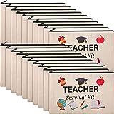 20 Pieces Cosmetic Bags Teacher Canvas Makeup Bags Canvas Zipper Pouch Travel Toiletry Case Pencil Bag Stationery Case Bag Multi-Purpose Bag for Teachers Appreciation