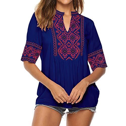 T Shirts Damen Sommer Elegant Folklore Bluse Kurzarm Blusen T-Shirt Loose Casual V-Ausschnitt Bestickt Blumen Bluse Oberteile Blusen Damen Sommer Mode Tunika Oversize Top S