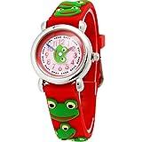 Happy Cherry - Montre à Motif 3D pour Enfant Fille garçon - Quartz - Analogique - Montre Bracelet en Caoutchouc - Grenouille Rouge