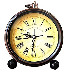 Vintage Bronze Gold Metal Alarm Clock 5.1-Inch Table Desk Alarm Clock Silent Sweep Clock (Picture 1)