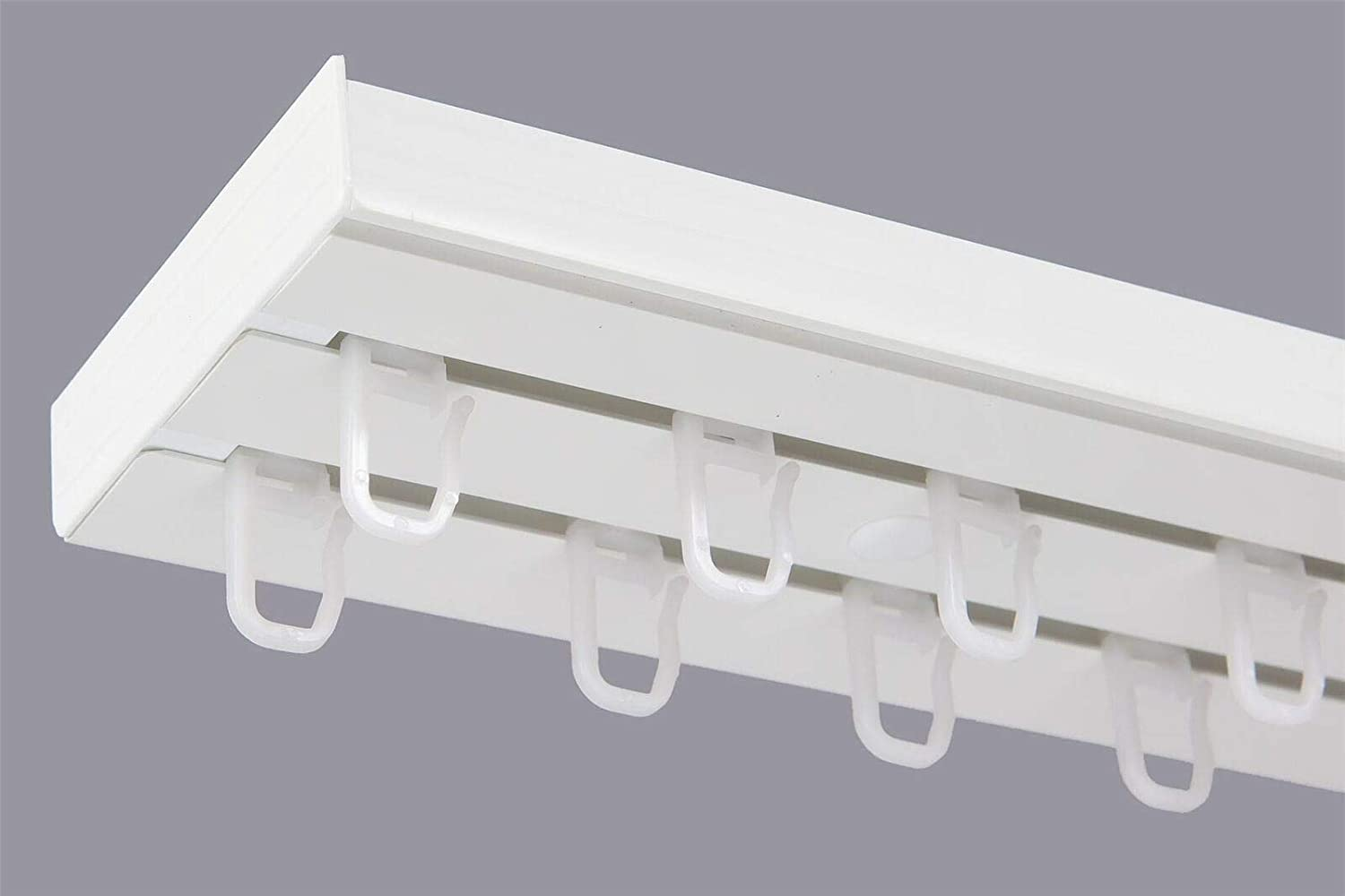 Karpol Double Curtain Rail Track Pcv Ceiling Set With Hooks 180cm Amazon Co Uk Kitchen Home