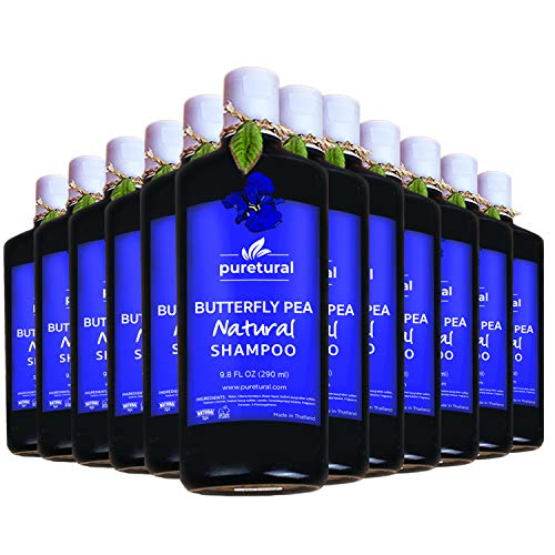 Puretural Butterfly Pea Natural Herb Shampoo Anti Hair Loss Made in Thailand 290 ml (12 Bottle)