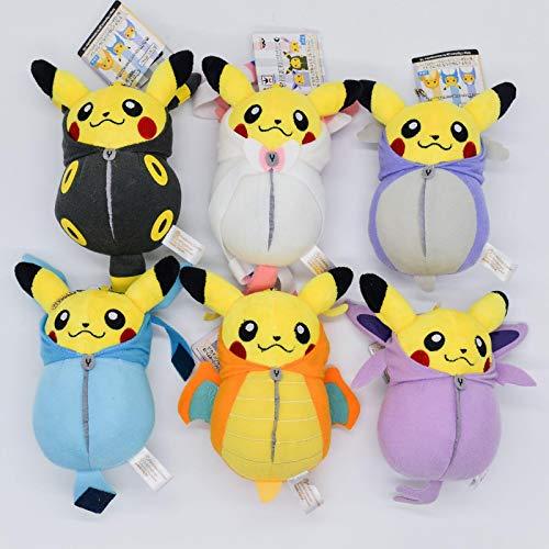WYXIN 6 Stück Pokemon Kuscheltiere Pikachu Im Schlafsack Plüschpuppen Cos Eevee Charizard Mantel Puppe Kinder 15Cm