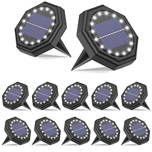 Solar Bodenleuchten Aussen【IP68 Wasserdichtes 16LED 12 Stück Batterie-Upgrade】SEZAC Solarleuchten für Außen Bodenlicht mit Lichtsensor für Garten Terrasse Hof Rasen Patio Gehweg Auffahrt