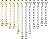 Necklace Extenders, 10Pcs Stainless Steel Necklace Chain Necklace Extenders Gold Silver for Jewelry Making
