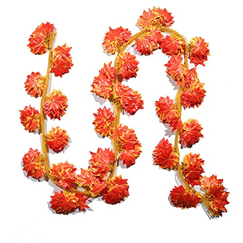 MBMB Artificial Ivy Plant Fake Plant Artificial Flowers Artificial Flower Decoration Bedroom Decoration 12 Pack Wall Decor for Wedding Party Garden Balcony (Red Maple Leaf)