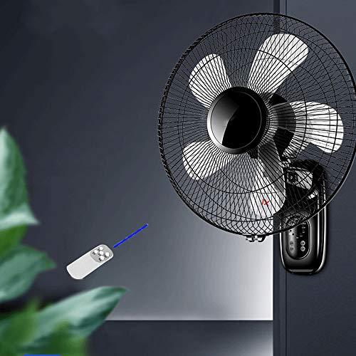 Home schwarzer Wandventilator mit Fernbedienung/Timer, industrieller Kühlung Ventilator, mit 3 Meter langem Netzkabel, 60W