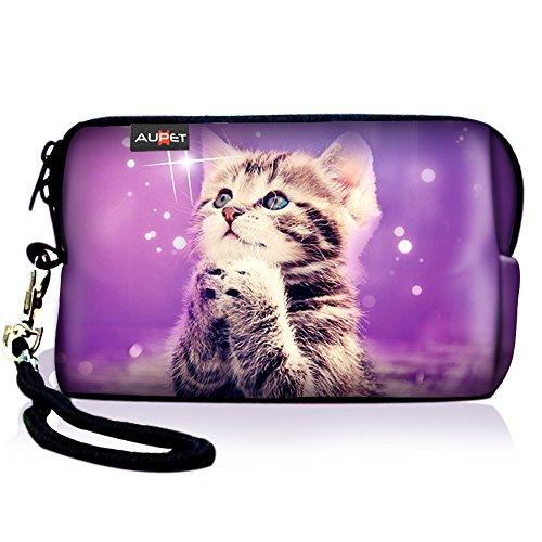 AUPET Cute Wish Cat Digital Camera Case Bag Pouch Coin Purse with Strap for Sony Samsung Nikon Canon Kodak