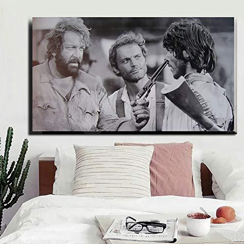 Alter Film Terence Hill Bud Spencer Plakat Leinwand für Wohnzimmer Wand dekorative Kunst 70x110cm Rahmenlos