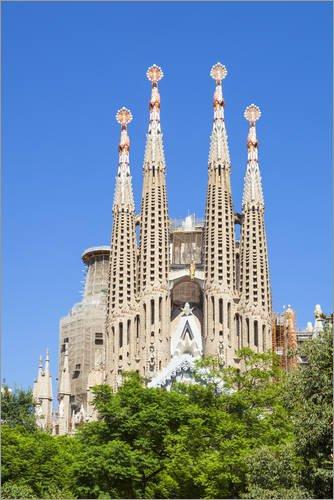 Posterlounge Cuadro de Madera 40 x 60 cm: La Sagrada Familia Church in Barcelona de Neale Clarke/Robert Harding