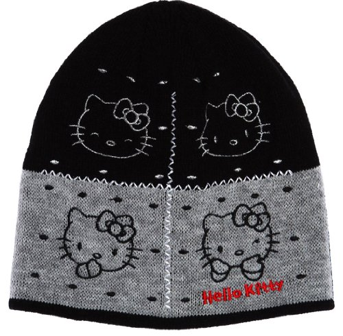 Hello kitty-Bonnet visage de kitty enfant fille ref 4007 noir/gris 2/5ans
