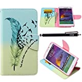 Note 4 Case, Galaxy Note 4 Case, iYCK Premium PU Leather Flip Folio Carrying Magnetic Closure Protective Shell Wallet Case Cover for Samsung Galaxy Note 4 with Kickstand Stand - Feather Bird