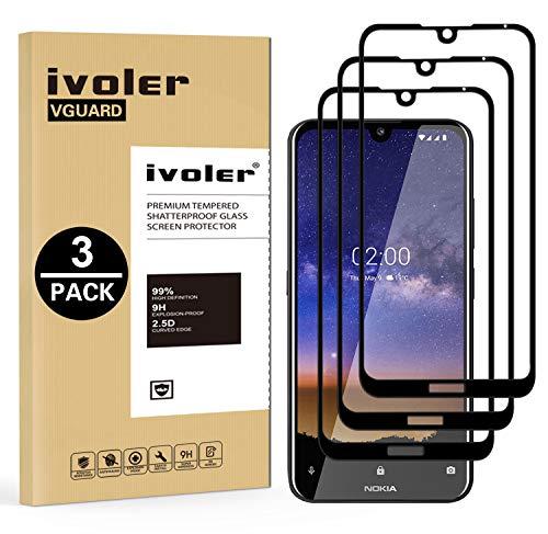 VGUARD [3 Stücke] Panzerglas Schutzfolie für Nokia 2.2, [Volle Bedeckung] Panzerglasfolie Folie Hartglas Gehärtetem Glas BildschirmPanzerglas für Nokia 2.2