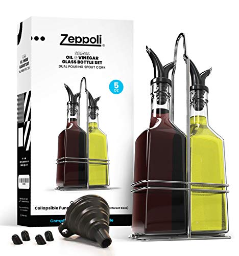 Zeppoli Oil and Vinegar Bottle Set 5oz [2-Pack] - Comes with Stainless Steel Rack, Removable Cork, Funnel, and Spout Caps - Dual Cork Spout - Glass Olive Oil Dispenser Set