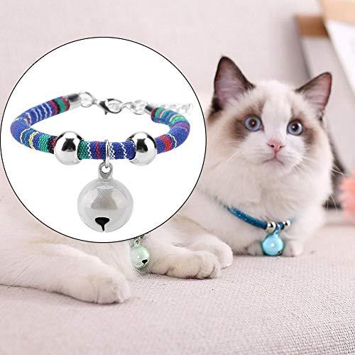 Halsketting voor huisdieren, accessoire voor nationale accessoires, ketting met halsband met bel voor kittenhond (blauw)