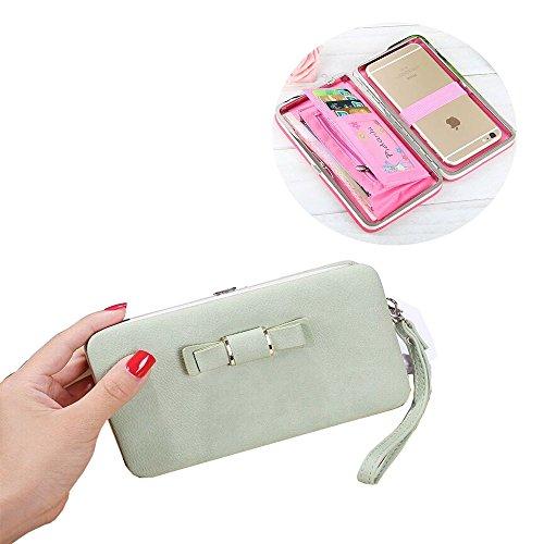 SevenPanda Phone Wallet für Mädchen, 2018 Damen Long Style Handtasche Geldbörse Geldbörse Damen Multi-Card Handy Tasche für Huawei P8 Lite P9 Lite P10 Lite Samsung S9 iPhone 8 Plus - Grün