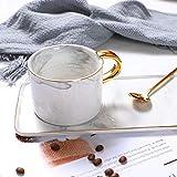 Taza y platillo de café creativo Taza de desayuno de lujo pequeña europea Taza de té de la tarde Plato de postre Set Taza de cerámica-Gris jaspeado con cuchara_201-300ml