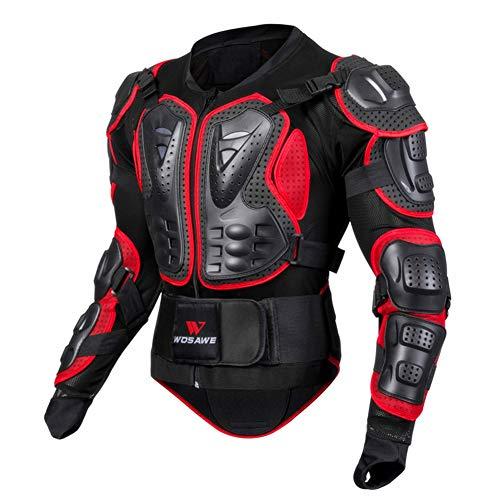 YOUMI Motorrad-Schutzkleidung Rüstung Extremsport Ski Skating Brustschutz Spine Fallschutzausrüstung, Motocross Jacken, Motocross-Rüstung,Rot,XXL