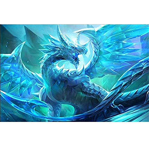 Kit de pintura de diamante 5D, diseño de dragón de hielo de juego de tronos WOWDECOR completo taladro DIY diamante Art pintura de punto de cruz por números