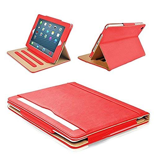 MOFRED Red & Tan Apple iPad 2 / iPad 3 / iPad 4 (Oldest Models) Leather Case-MOFRED- Executive Multi Function Leather Standby Case for Apple New iPad 4