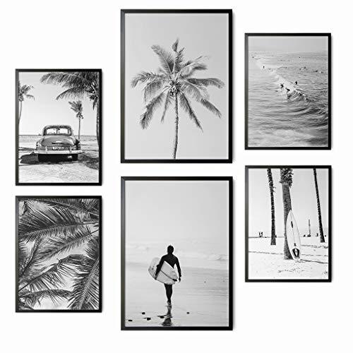 Láminas Decorativas para salón, Comedor, habitación, Dormitorio, Pasillo. Set de 6 Posters Modernos en Blanco y Negro tamaño DIN A4 y DIN A3. Sin Marco. (Modelo 2)