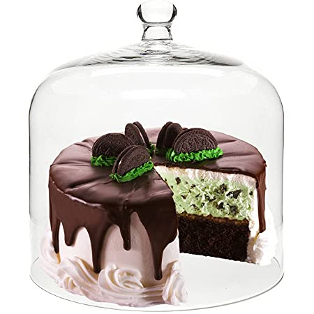 Decent Glass Cake Cover Dome Multi Function Portable Round Glass Cake Dome with Glass Plate (Cover with Plate)