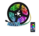 Tira LED de Bluetooth, WINSUNY Luces de Tira LED Controlada por Smartphone APP, Sync to Music, 5050 RGB 6.5 ft / 2 meter, 60 Luz LED Prueba de Agua, USB Multicolor Retroiluminación Tiras de Luces LED...